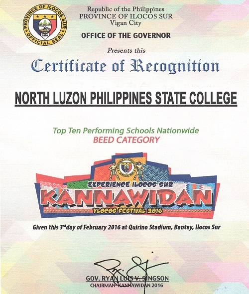 Nlpsc hymn certificate of recognition awarded to north luzon philippines state college during the kannawidan ylocos festival 2016 for being at the top ten performing yadclub Gallery
